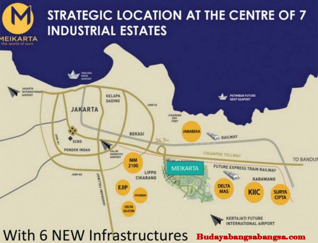 Peta strategis Meikarta Cikarang dengan 7 pusat industri