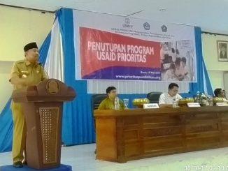 Wakil Bupati Kabupaten Bone, Ambo Dalle saat menutup program USAID PRIORITAS di Kabupaten Bone bulan Mei lalu.