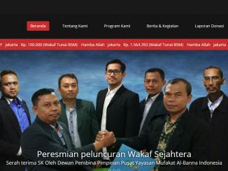 Tampilan Website Wakaf Sejahtera