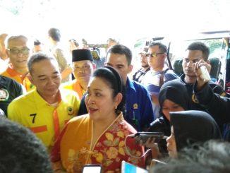 Siti Hediati Haryadi alias Titiek Soeharto saat menghadiri Perayaan Ulang Tahun Partai Berkarya, di Jakarta, Minggu (15/7/2018)