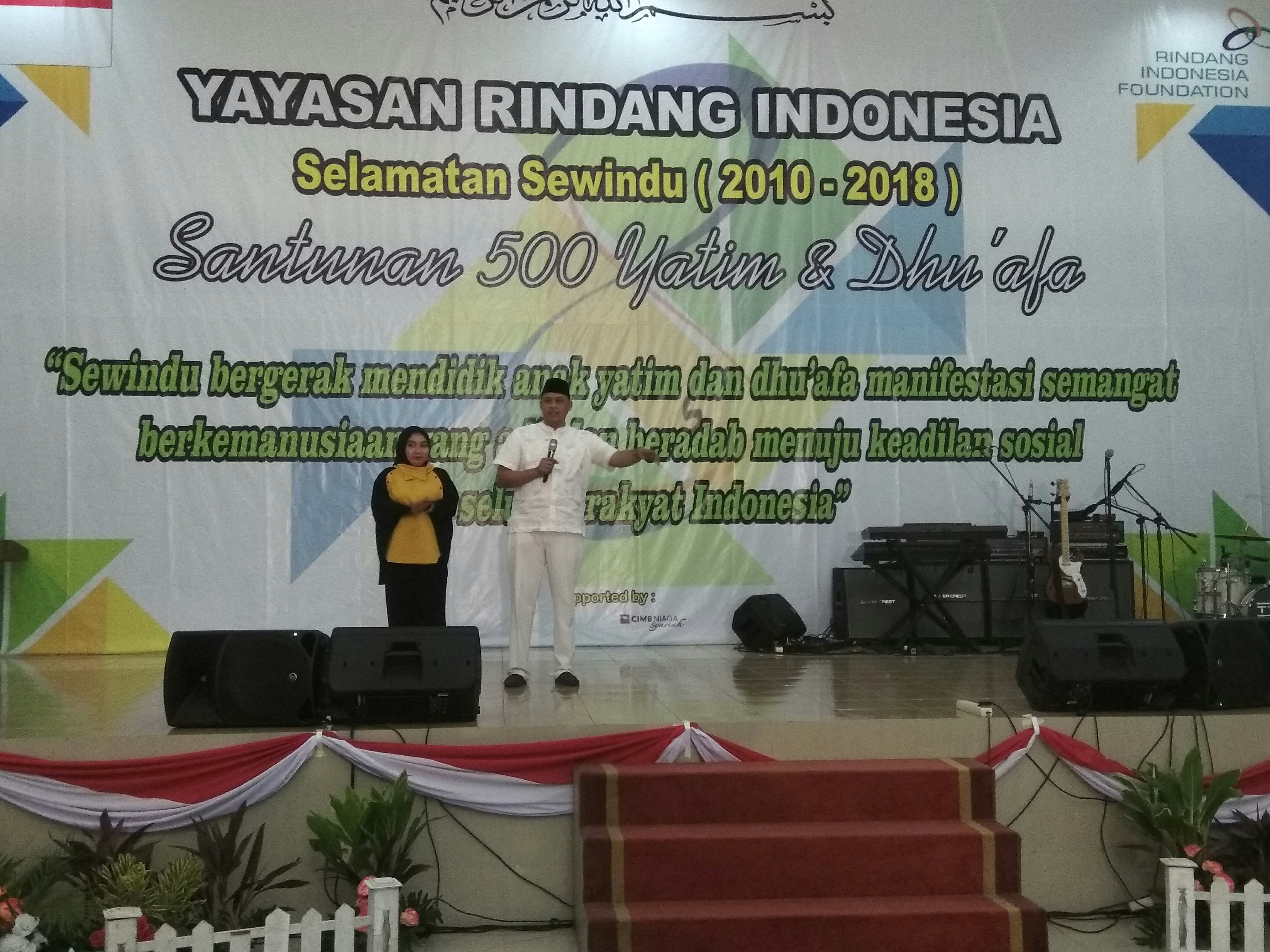 Wakil Wali Kota Bekasi Tri Adhianto memberikan sambutan dalam Milad ke-8 Yayasan Rindang Indonesia, Bekasi, Minggu (12/8)