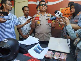 Kapolres Mataram Saiful Alam, S.H.,S.I.K.,M.H saat jumpa pers di Polres Mataram (ft/sut)
